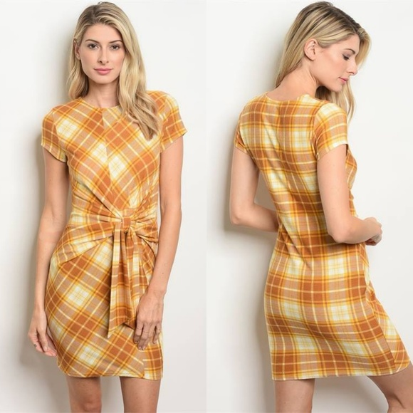8303a98a9dc81 Luxe Label Dresses | New Girl Plaid Front Tie Mini Dress In Mustard ...